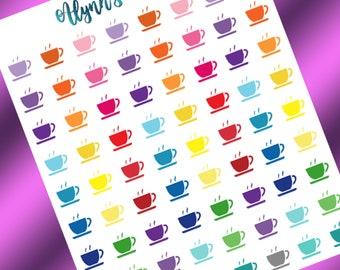 Tea Or Coffee //Tea/Coffee Icons, Multi Color, Planner Stickers, Calendar Stickers,Matte Sticker Paper