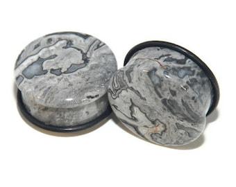 Jasper Stone Plugs | Stone Plugs | Single Flare Grey Wave Jasper Stone Plugs  | Grey Plugs | Ear Gauges | Gauges | Plugs and Tunnels