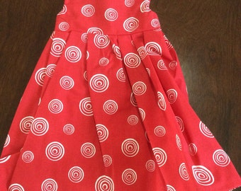 Red with White Swirls Fancy Dress for 18 inch Dolls