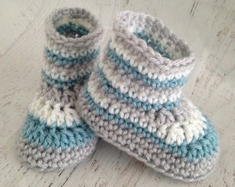 Cutest Crochet Booties - Handmade Aqua, White & Gray Crochet Baby Boots - Baby Shower Gift Idea - 6 Month Size Crib Shoes