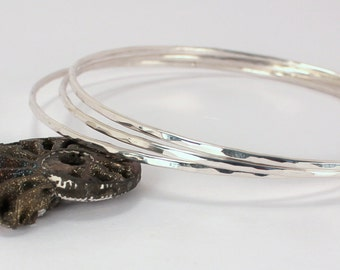Three Hammered Sterling Silver Bangles, Made to Order