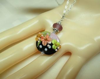 Lilac and Black Lentil Lampwork Bead Pendant Necklace