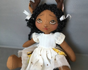 Deer Fawn Doll Mori Girl Art Doll, Fabric Cloth Rag , Antlers vintage lace hankie and fabrics, African American Wood Nymph Fairy Kid