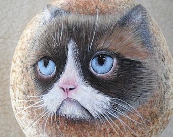 Grumpy Face Kitten River Rock OOAK