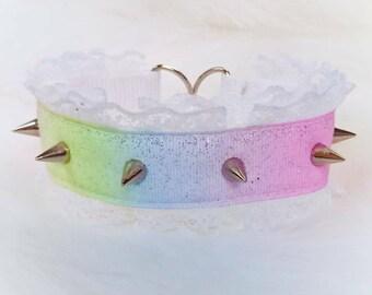 Rainbow Collar with Spikes