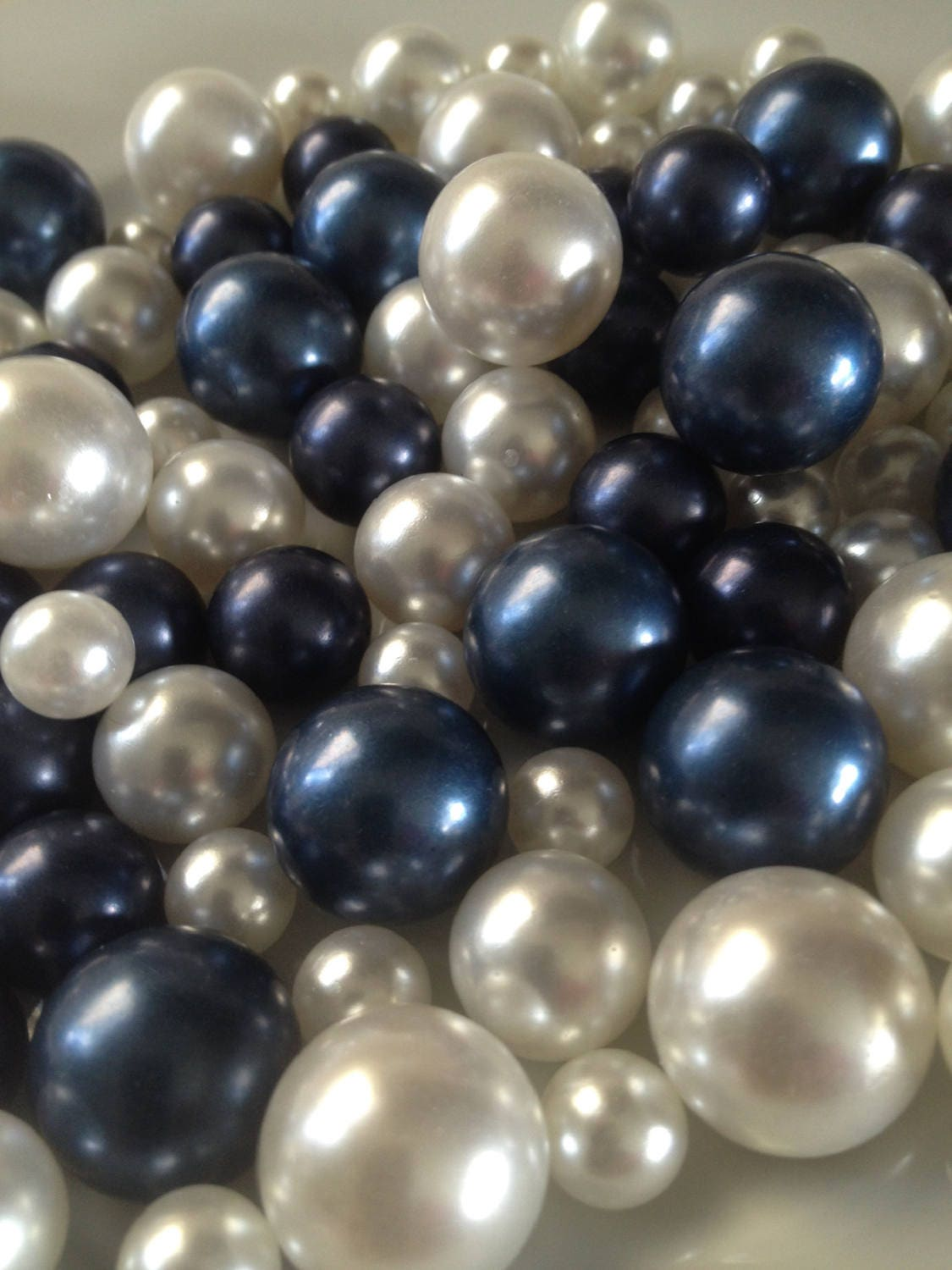 90pc Navy Blue White Pearls No Hole Pearls Vase Fillers