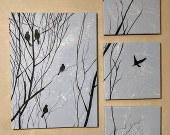 Bird Silhouettes on a Bush