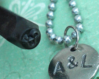 Your initials on one cute Charm .. copper, silver or gold in an Antiqued finish .. 13mm disc tag