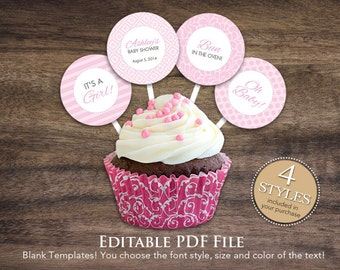 """Instant Download 2"""" Pink Editable Cupcake Toppers, DIY Printable Baby Shower Gift Tags, Baby Shower Cupcake Toppers, Birthday Toppers 24A"""