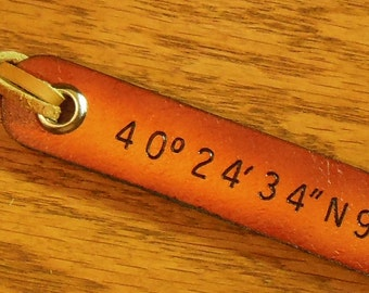 1 Long Line, Latitude Longitude, Custom Leather Luggage Tags, Personalize