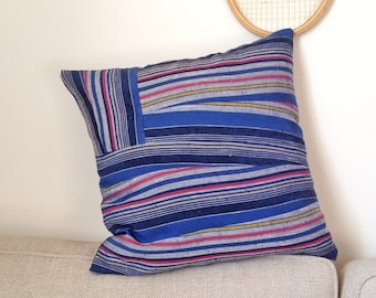 Pillow, Cussion, 50 x 50 cm, Wool, Vintage Wool, Cotton, stripes, striped