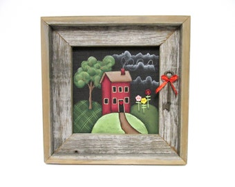 Folk Art Red House, Button Flowers, Old Key, Framed in Reclaimed Barn Wood, Green Tree,Colorful Flowers,Hand or Tole Painted,Primitive Home