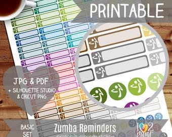Zumba Printable Planner Stickers, Erin Condren Planner Stickers, Zumba Dance Stickers, Zumba Reminders, Zumba Stickers - CUT FILES