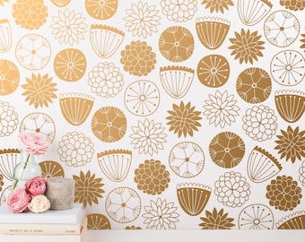 Flower Wall Decals - Modern Vinyl Decal Set, Nursery Decals, Gold Wall Decals, Nursery Decor, Cute Floral Wall Stickers