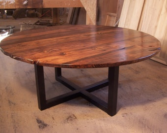 Free Shipping! Large round coffee table with industrial metal base