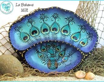 """Boho Peacock Trinket Bowl, Handpainted, One of a Kind, *seafoam and purple* #1631 """"La Boheme"""""""