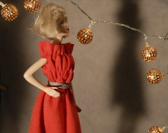 Cheery red doll's party frock