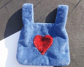 Faux Fur Heart Shopping Tote Bag Handbag