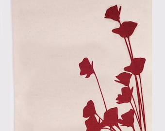 Poppies in red - Flour Sack Tea Towels