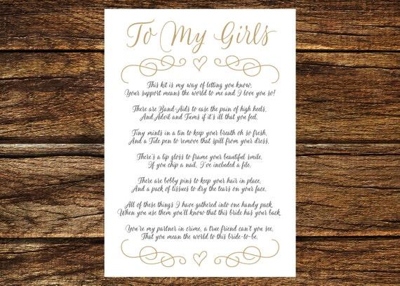 INSTANT DOWNLOAD Printable Gold Bridesmaid Survival Kit Poem