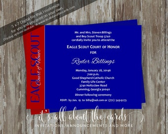 Eagle Scout Court of Honor Invitations-Eagle Wings blue design-Digital file