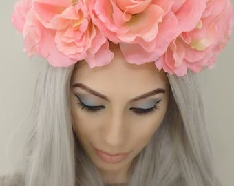 Elegant Pink Floral Crown, Flower Crown, Pink Flower Headband, Floral Crown, Floral Headband, Pink Flower Crowns