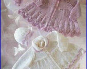 Baby Knitting Pattern - Vintage Pattern - Baby Matinee Coats - Matinee Set Knitting Pattern - Baby Coat Jacket Knitting Pattern - P28