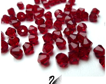 50 beads 4mm red SIAM stop deal!