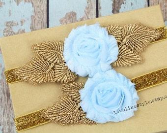 Light Blue Shabby Chic Flower with Gold Leaves Garter Set,Toss Garter , Keepsake Garter / GT-25