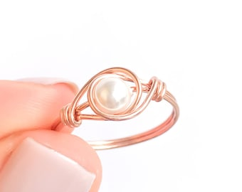 Rose Gold Filled Pearl Ring