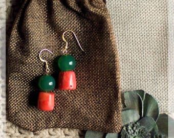 Coral Bamboo Earrings