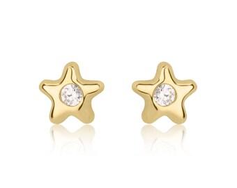 White CZ Earrings, Star Stud Earrings, 14K Yellow Gold Earrings, Gold Girls Earrings, Small Stud Earrings, Gift for Kids