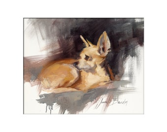 Dog Art - Matted Print of Original Oil Painting - Dogs, Animal Lovers, Happy Art, Black and White, Fur, Boy, Girl,