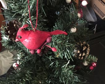 Vintage feather cardinal Christmas ornament