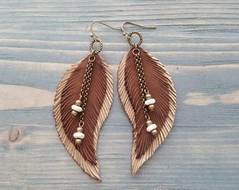 Brown Earrings Long Feather Earrings Bohemian Earrings Bohemian Jewelry Long Leather Feather Earrings Boho Tribal Earrings Hippie Earrings