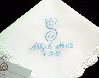 Brides Handkerchief embellished with personalized single initial names and wedding date, Monogrammed Handkerchief, Embroidered Handkerchief