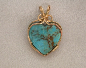 Blue Turquoise Heart Pendant with Gold Plated Wire Wrap