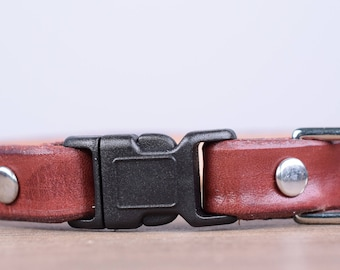 Purrfect Leather Cat Collar - Burgundy - Breakaway Safety Leather Cat Collar