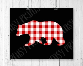 Bear print, buffalo plaid, bear decor, bear nursery decor, bear nursery, bear silhouette, bear picture, buffalo plaid baby, fall print