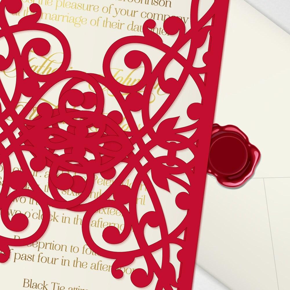 Laser cut wedding invitation template, digital vector 5x7\