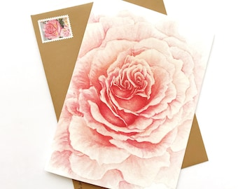 Watercolor Pink Rose Greeting Card Blank Inside 5x7 with Envelope