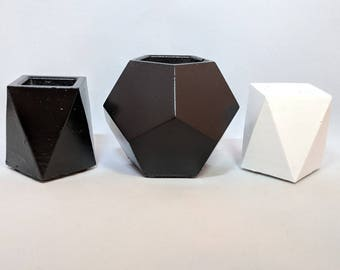 Concrete Planter | Succulent Planter | Plant Pot | Black and White Planter | Planter Set | Geometric Planter | Handmade Planter | Home Decor