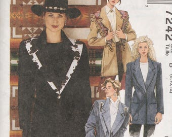 McCalls 7242 Vintage Pattern Womens  Unlined Jacket and Shawl Size 8,10,12UNCUT