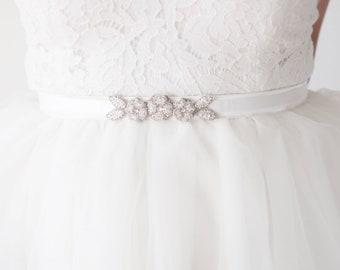 BRI Sash Silver Beaded Floral Wedding Ribbon, Wedding Flower Belt Tie (#501)