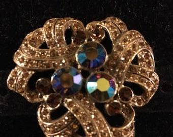 Vintage Topaz Crystal Brooch