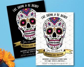 Sugar skull birthday invitation, day of the dead invitation, Dia de los Muertos invitation, birthday, sugar skull invite (Adriana)