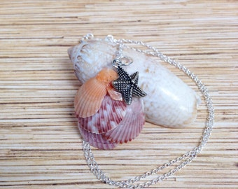 Beach Comber Scallop and Starfish Necklace