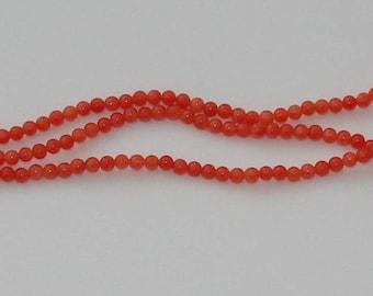 10 pearls jade diameter 4mm orange/red - Ref: PJ 560