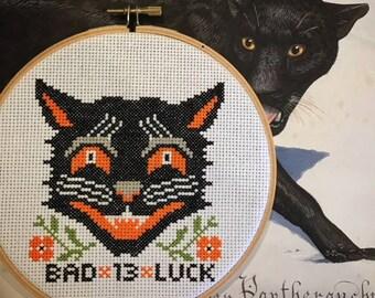 Black Cat Bad Luck 13 Halloween Cross Stitch Pattern Embroidery Chart