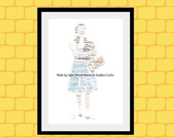 Personalised Dorothy Print, Dorothy Word Art, Dorothy Word Cloud, Dorothy Word Collage, Wizard of Oz Dorothy Print, Dorothy Themed Gift.